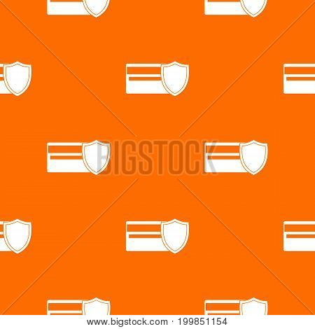 Credit card and shield pattern repeat seamless in orange color for any design. Vector geometric illustration