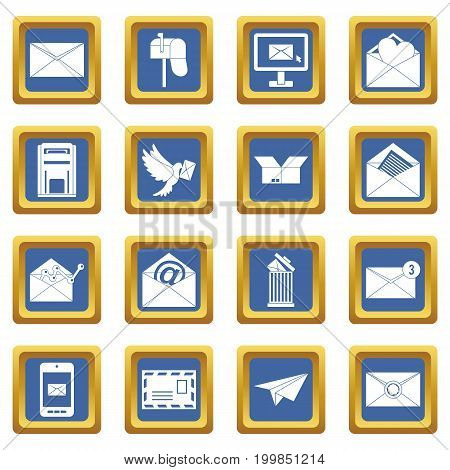 Email icons set in blue color isolated vector illustration for web and any design