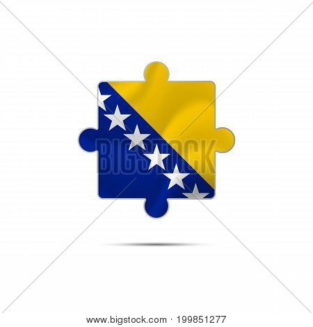 Isolated piece of puzzle with the Bosnia and Herzegovina flag. Vector illustration.