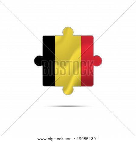 Isolated piece of puzzle with the Belgium flag. Vector illustration.
