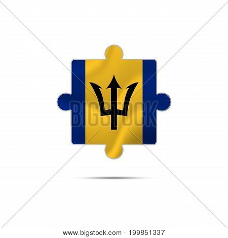 Isolated piece of puzzle with the Barbados flag. Vector illustration.