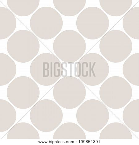 Vector seamless pattern with big circles, simple geometric texture in soft pastel colors white & beige. Perforated surface, mesh background. Subtle design element for prints, decor, fabric, textile.
