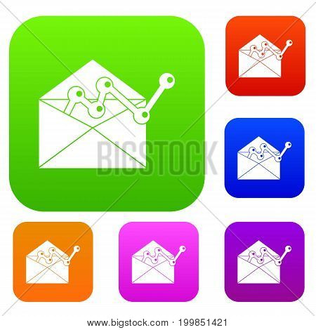Envellope with graph set icon in different colors isolated vector illustration. Premium collection