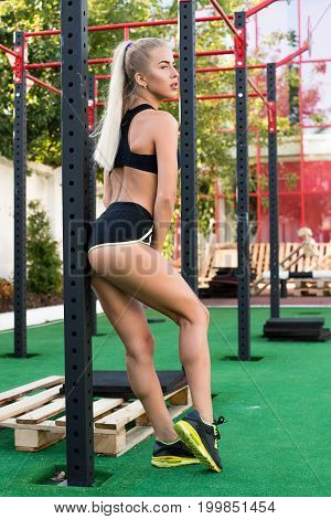 Just Do It. Beautiful Young Sexy Woman Do Exercises In Short Shorts And Top.