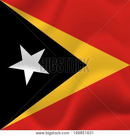 East Timor waving flag. Waving flag. Vector illustration.