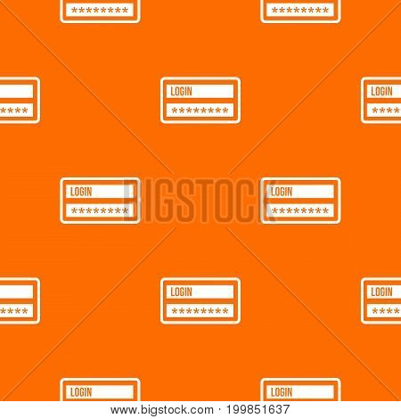 Login and password pattern repeat seamless in orange color for any design. Vector geometric illustration