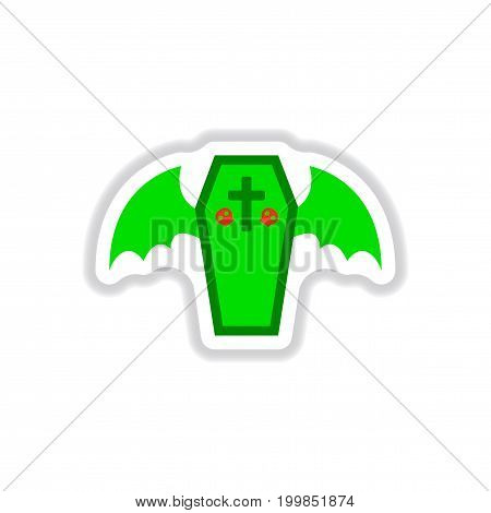 paper sticker on stylish background of wings coffin