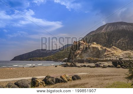 Beach on the sea tyirrhenian on the island of vulcano famous for its clay healing baths
