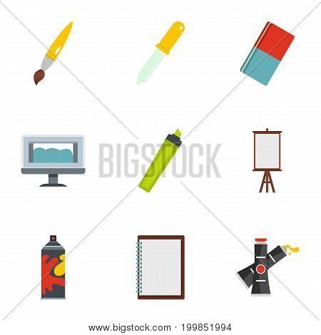 Art school icons set. Flat set of 9 art school vector icons for web isolated on white background