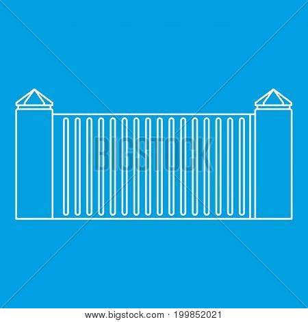 Stone fence icon blue outline style isolated vector illustration. Thin line sign