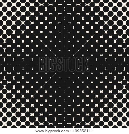 Halftone seamless pattern with circles, dots, spots. Modern abstract black & white texture with radial gradient transition optical illusion effect. Repeat monochrome background. Cross pattern, geometric pattern, dots pattern, design pattern.