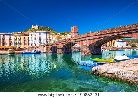 Bosa Old City Center With Colorful Houses And Fiume Temo River, Sardinia