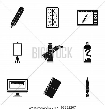 Art school icons set. Simple set of 9 art school vector icons for web isolated on white background