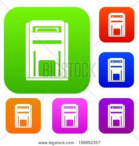 Square post box set icon in different colors isolated vector illustration. Premium collection