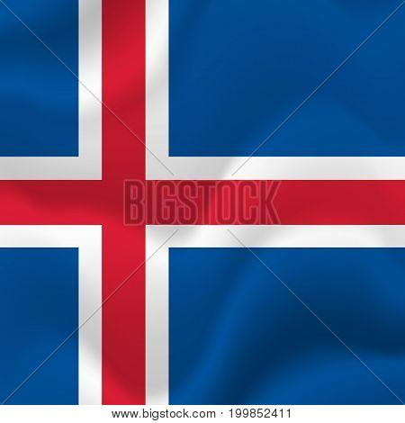 Iceland waving flag. Waving flag. Vector illustration.