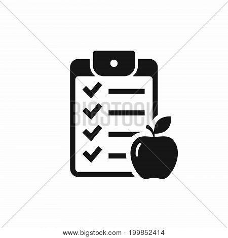 Checklist icon with apple sign. Vector isolated fitness diet symbol.