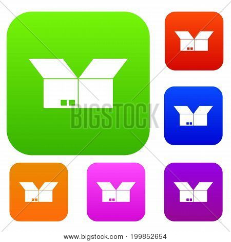 Opened cardboard box set icon in different colors isolated vector illustration. Premium collection