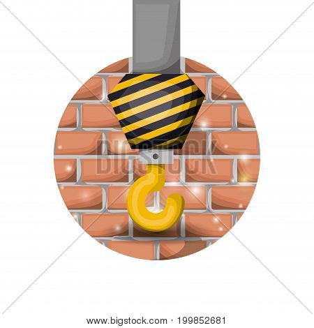 white background with circular brick wall and crane hock vector illustration