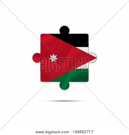 Isolated piece of puzzle with the Jordan flag. Vector illustration.