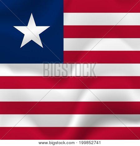 Liberia waving flag. Waving flag. Vector illustration.