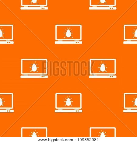 Laptop pattern repeat seamless in orange color for any design. Vector geometric illustration