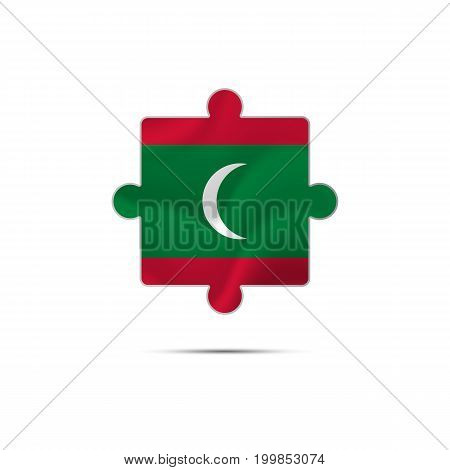 Isolated piece of puzzle with the Maldives flag. Vector illustration.
