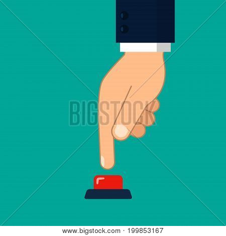 Hand press red button illustration in flat style. Vector.
