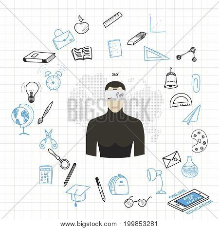 Concept online learning with virtual reality glasses with set of drawing vector elements for education with endolar accessories. Vector illustration EPS 10