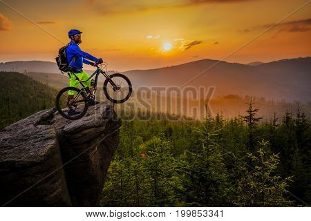 Mountain biker riding on bike in autumn mountains forest landscape. Man cycling MTB flow trail track. Outdoor sport activity. poster