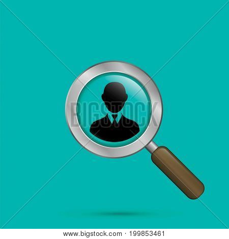 Search for employees human resource. Search man vector illustration with magnifying glass.