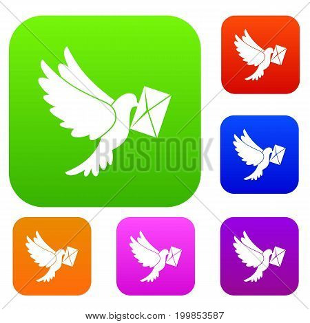 Dove carrying envelope set icon in different colors isolated vector illustration. Premium collection