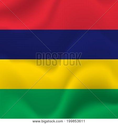 Mauritius waving flag. Waving flag. Vector illustration.