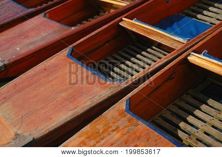 Traditional punting boats moored in Cambridge, England