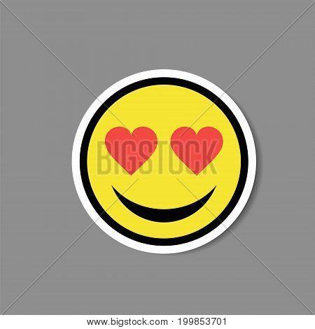 Smiley love heart eyes sticker. Vector illustration.
