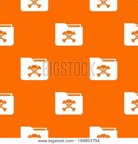 File folder with a skull pattern repeat seamless in orange color for any design. Vector geometric illustration