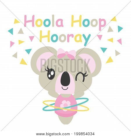 Cute baby koala plays hoola hoop vector cartoon illustration for baby shower card design, kid t shirt design, and wallpaper