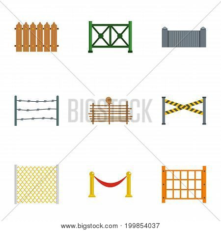 Fence icons set. Flat set of 9 fence vector icons for web isolated on white background