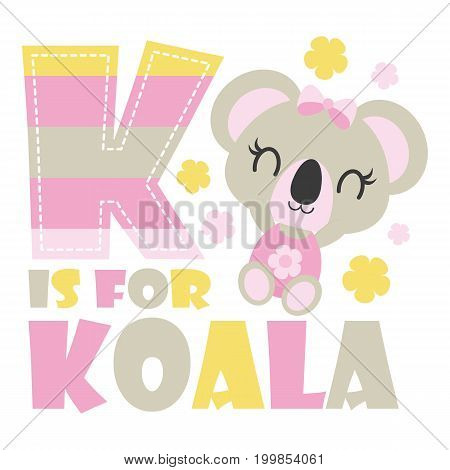 Cute baby koala with K colorful alphabet vector cartoon illustration for baby shower card design, kid t shirt design, and wallpaper
