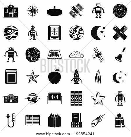 Astronomy icons set. Simple style of 36 astronomy vector icons for web isolated on white background