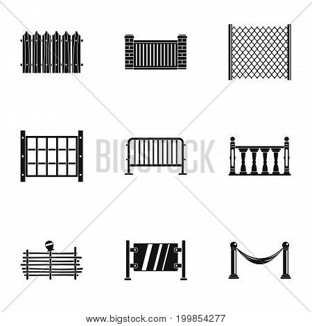 Fence icons set. Simple set of 9 fence vector icons for web isolated on white background