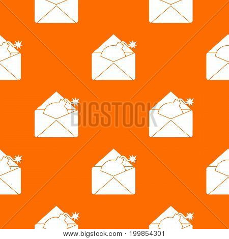 Envelope with bomb pattern repeat seamless in orange color for any design. Vector geometric illustration