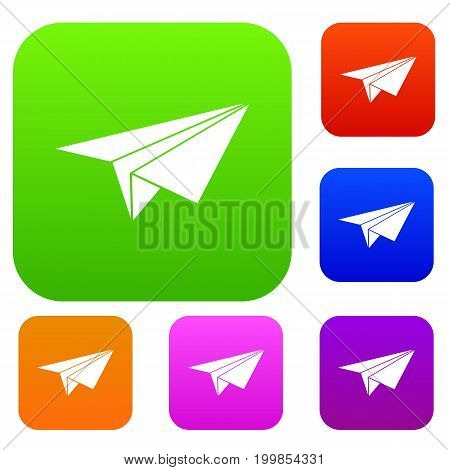 Paper plane set icon in different colors isolated vector illustration. Premium collection