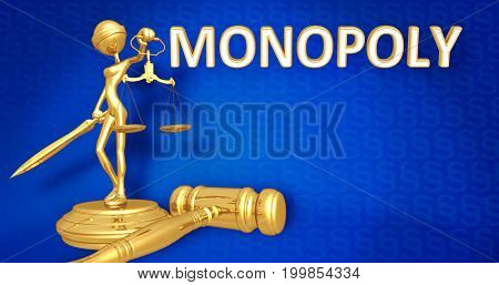 Monopoly Law Concept Lady Justice The Original 3D Character Illustration