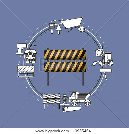 color background circular frame with traffic barrier with yellow and black stripes and tools for construction around vector illustration