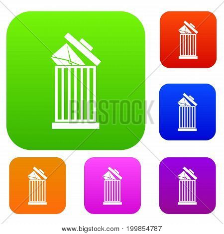 Envelope in trash bin set icon in different colors isolated vector illustration. Premium collection