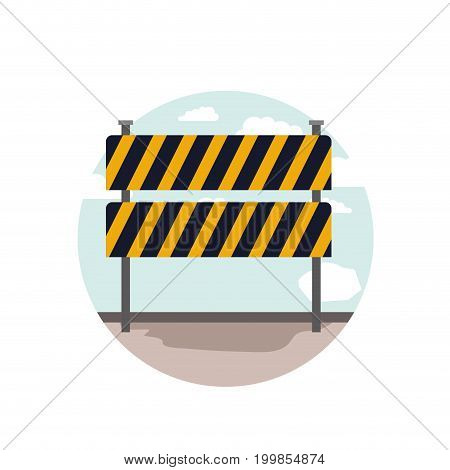 white background with circular scene city landscape and traffic barrier vector illustration