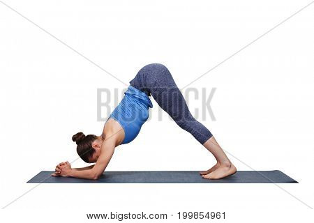 Woman doing Hatha yoga Surya Namaskar Sun Salutation asana Adhomukha svanasana variation - Ardha Pincha Mayurasana dolphin pose on yoga mat isolated on white background
