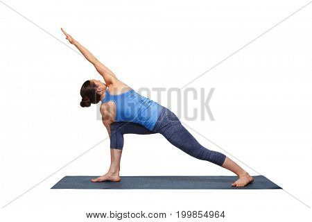 Woman doing Ashtanga Vinyasa yoga asana Parivrtta parsvakonasana - revolved side angle pose isolated on white