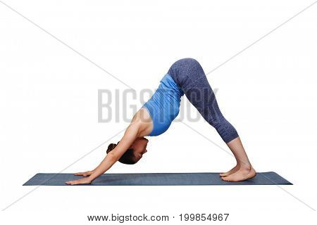Woman doing Ashtanga Vinyasa yoga Surya Namaskar Sun Salutation asana Adhomukha svanasana - downward facing dog isolated