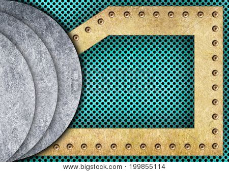 Turquoise Or Teal Mesh With Metal Plates, 3D, Illustration